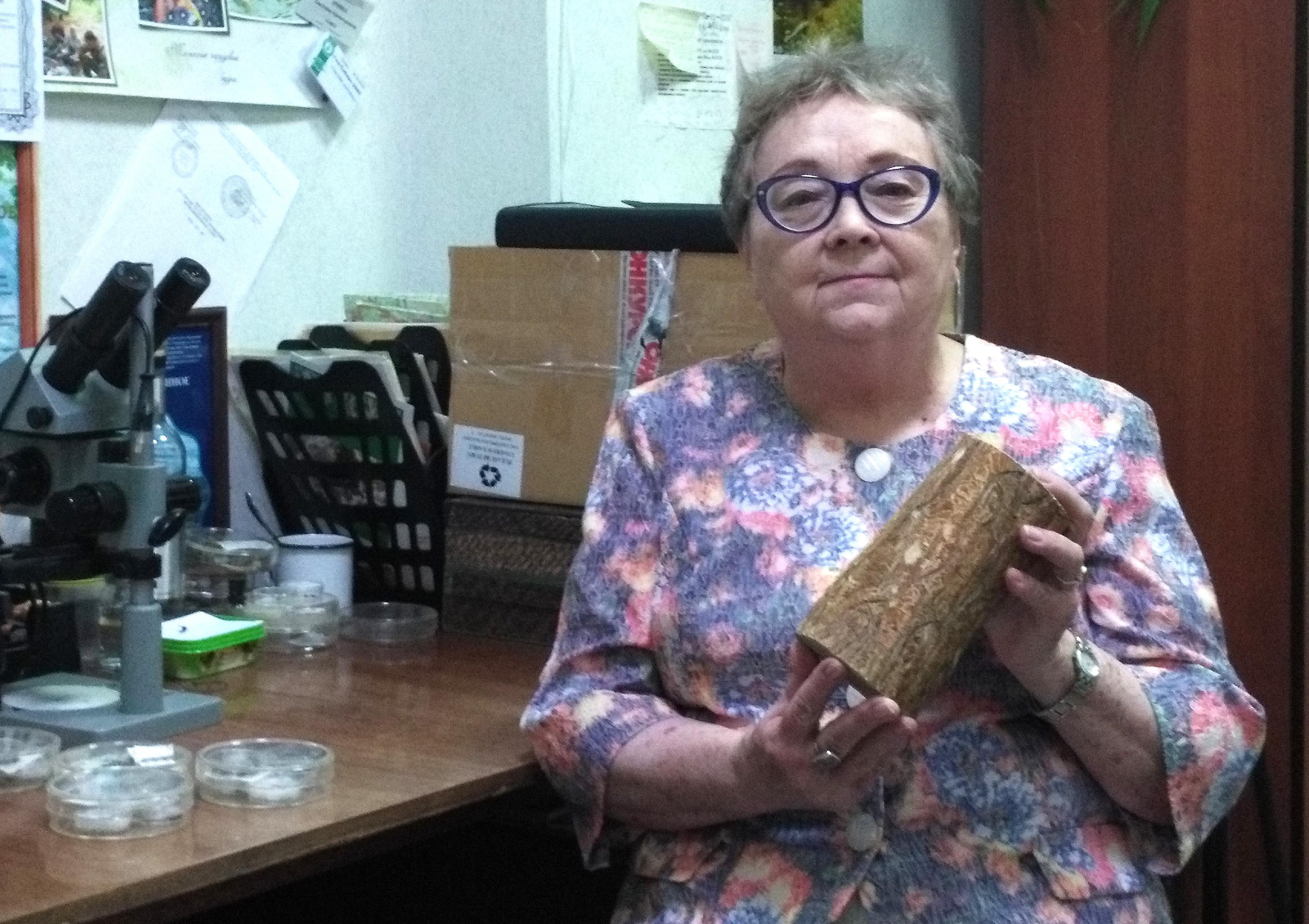 Кандидат биологических наук Светлана Кривец держит фрагмент ствола, поврежденного союзным короедом