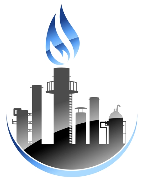 Vector icon depicting a modern oil refinery or industrial plant with tall smokestacks or chimneys with the central one emitting a burning flame
